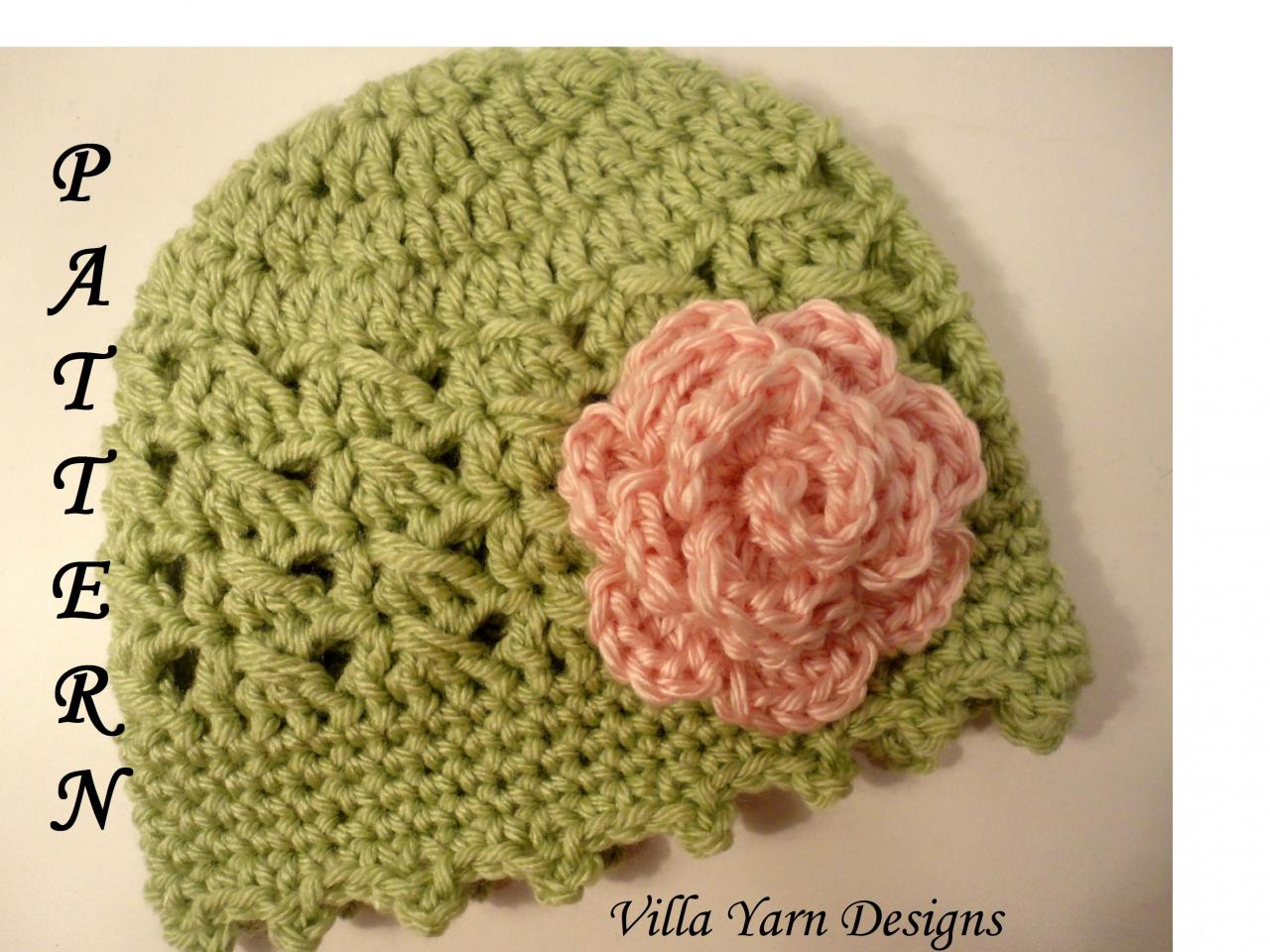 Crochet Baby Hat Pattern With Flower, Baby Girl, Newborn To 12 ...